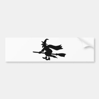 Witch on brooms bumper sticker