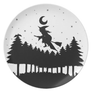 Witch on brooms - Halloween Melamine Plate