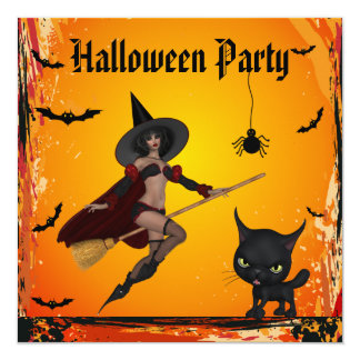 Witch on Broomstick, Cat & Spider Halloween Party Card