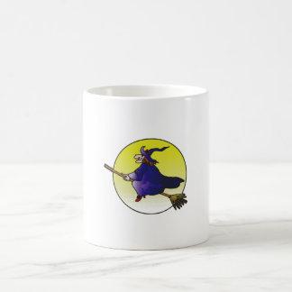 witch on broomstick coffee mug