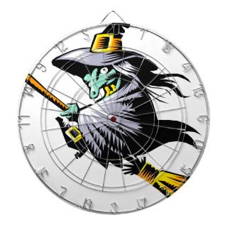 Witch on Broomstick Dartboard With Darts