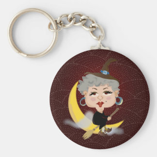 Witch On Broomstick Keychain