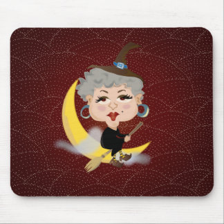 Witch On Broomstick Mouse Pad