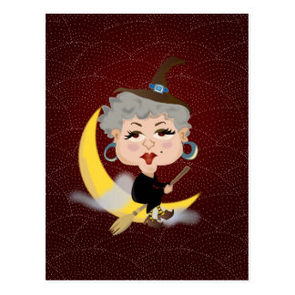Witch On Broomstick Postcard