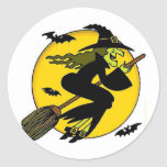 Witch On Broomstick Round Stickers
