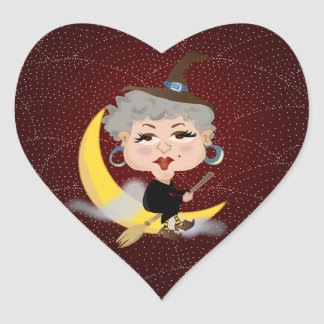 Witch On Broomstick Heart Sticker