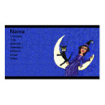 Witch On Crescent Moon Black Cat Blue Double-Sided Standard Business Cards (Pack Of 100)