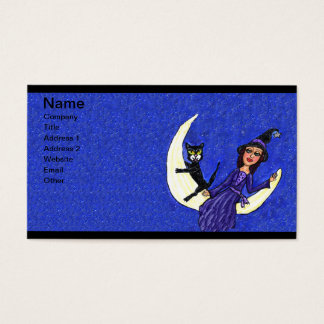 Witch On Crescent Moon Black Cat Blue Business Card