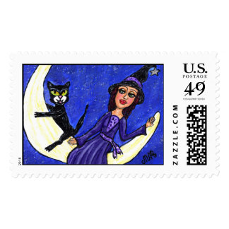 Witch On Crescent Moon Black Cat Postage