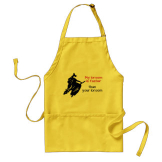 Witch on fast broom adult apron