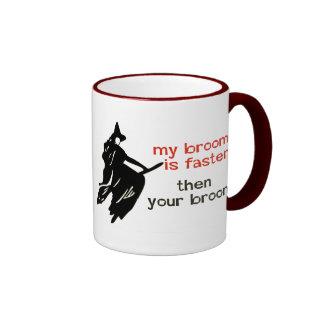 Witch on faster broom coffee mug