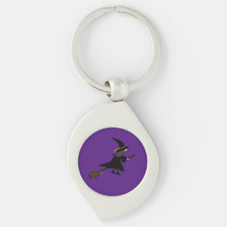 Witch On Her Broom Silver-Colored Swirl Metal Keychain