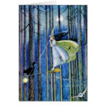 Witch on Her Broom Stick Greeting Card