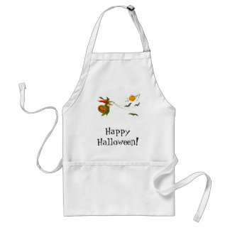 Witch on Pumpkin with Bats Adult Apron