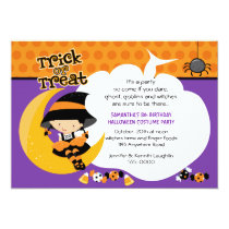 Witch on the Moon Halloween Birthday Card