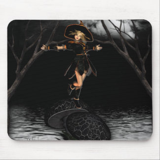 Witch on Toad Stool Mouse Pad