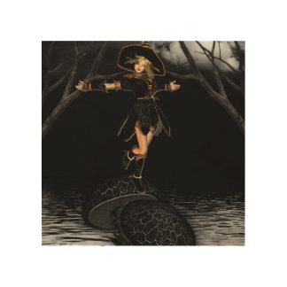 Witch on Toadstool Wood Wall Art