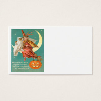 Witch Owl Crescent Moon Jack O Lantern Business Card