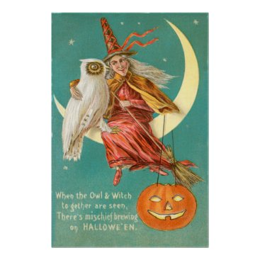 Halloween Themed Witch Owl Crescent Moon Jack O Lantern Poster