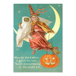 Witch Owl Crescent Moon Smiling Jack O Lantern 5x7 Paper Invitation Card