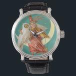 "Witch Owl Crescent Moon Watch<br><div class=""desc"">Vintage Halloween print</div>"