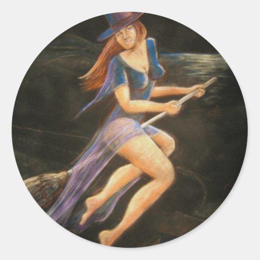 Witch Pastel Portrait Classic Round Sticker