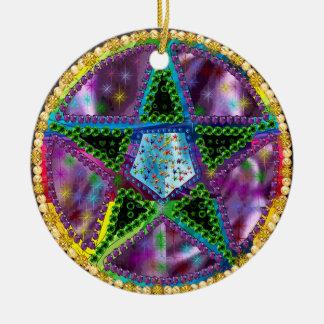 Witch Pentagram Ceramic Ornament