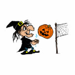 Witch playing pumpkin volley ball photo cutout