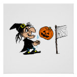 Witch playing pumpkin volley ball posters