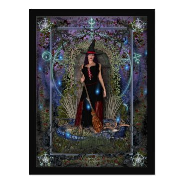 Halloween Themed Witch Postcard - Blue Moon Witch & Dragon