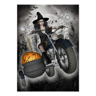 Witch Poster - Biker Witch