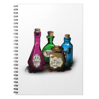 Witch Potion Bottles Spiral Note Book