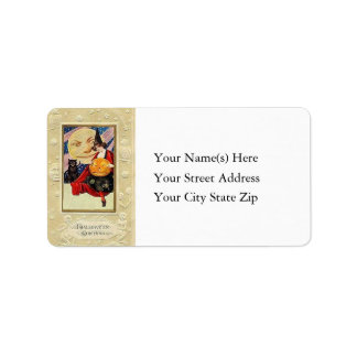 Witch Pumpkin and Black Cat Vintage Address Label