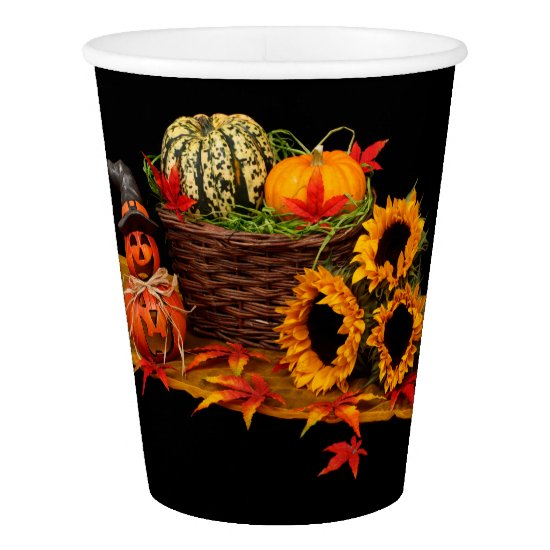 Witch, Pumpkin and Sunflowers Halloween Paper Cup
