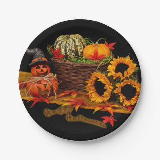 Witch Pumpkin and Sunflowers Halloween Paper Plate