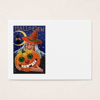 Witch Pumpkin Black Cat Crescent Moon Business Card