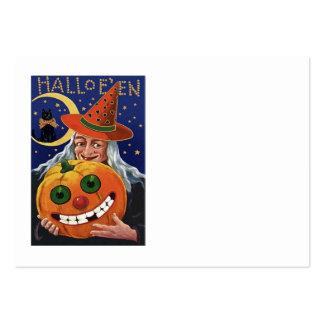 Witch Pumpkin Black Cat Crescent Moon Large Business Card