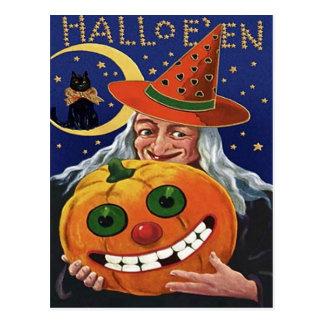 Witch Pumpkin Black Cat Crescent Moon Post Card