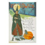 Witch Pumpkin Broom Man In The Moon Mouse Print