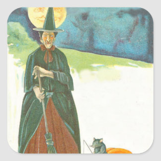 Witch Pumpkin Broom Man In The Moon Mouse Square Sticker