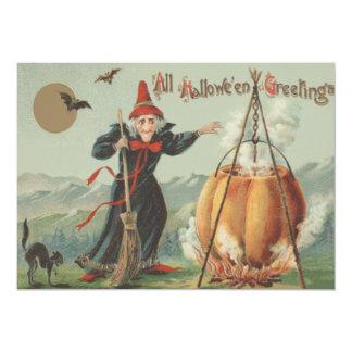 Witch Pumpkin Cauldron Black Cat Spell 5x7 Paper Invitation Card