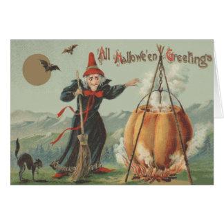 Witch Pumpkin Cauldron Black Cat Spell Card