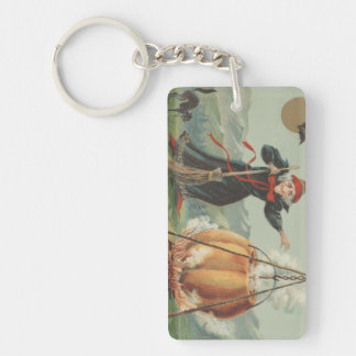 Witch Pumpkin Cauldron Black Cat Spell Double-Sided Rectangular Acrylic Keychain