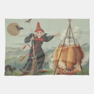 Witch Pumpkin Cauldron Black Cat Spell Kitchen Towels
