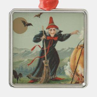 Witch Pumpkin Cauldron Black Cat Spell Metal Ornament