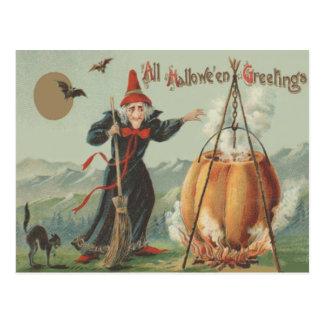 Witch Pumpkin Cauldron Black Cat Spell Postcard
