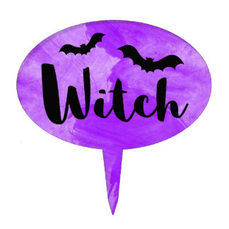 Witch Purple Watercolour Textured Bats Cake Topper