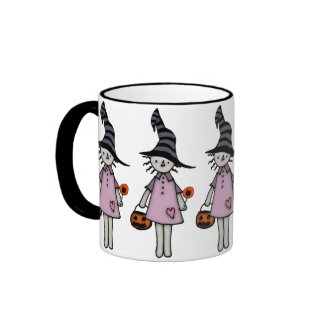 Witch Rag Doll With Halloween Treats Ringer Coffee Mug