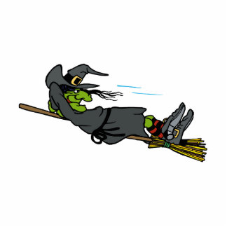 witch relaxing on flying broom photo sculpture