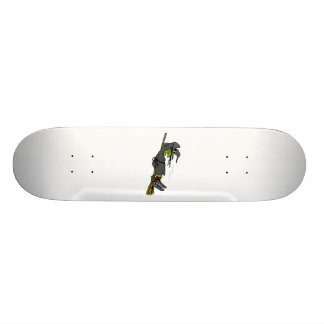 witch relaxing on flying broom skateboard deck